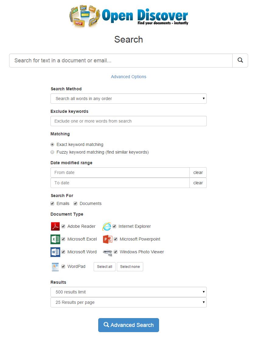 Advances Search Features